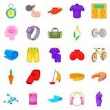Ícones ajustados, estilo da prática dos desenhos animados Fotos de Stock Royalty Free