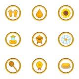Ícones ajustados, estilo da produção do mel dos desenhos animados Fotos de Stock Royalty Free