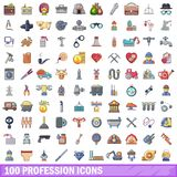 100 ícones ajustados, estilo da profissão dos desenhos animados Foto de Stock Royalty Free