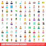 100 ícones ajustados, estilo da profissão dos desenhos animados Fotos de Stock Royalty Free