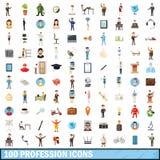 100 ícones ajustados, estilo da profissão dos desenhos animados Imagem de Stock