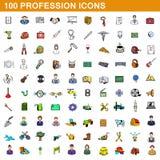 100 ícones ajustados, estilo da profissão dos desenhos animados Imagens de Stock Royalty Free