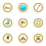 Ícones ajustados, estilo da puericultura dos desenhos animados Imagem de Stock