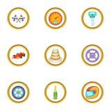 Ícones ajustados, estilo da raça de carro dos desenhos animados Fotografia de Stock Royalty Free