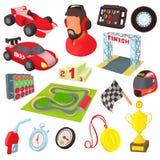 Ícones ajustados, estilo da raça dos desenhos animados Foto de Stock