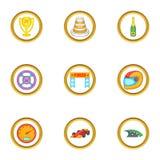 Ícones ajustados, estilo da raça dos desenhos animados Imagem de Stock Royalty Free