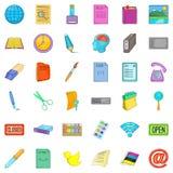 Ícones ajustados, estilo da relação comercial dos desenhos animados Imagens de Stock Royalty Free