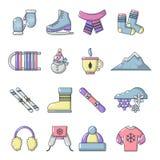 Ícones ajustados, estilo da roupa do inverno dos desenhos animados Foto de Stock