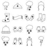 Ícones ajustados, estilo da roupa do inverno do esboço ilustração royalty free