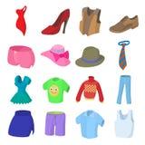 Ícones ajustados, estilo da roupa dos desenhos animados Foto de Stock Royalty Free