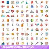 100 ícones ajustados, estilo da saúde das mulheres dos desenhos animados Imagens de Stock