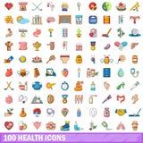 100 ícones ajustados, estilo da saúde dos desenhos animados Fotografia de Stock