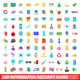 100 ícones ajustados, estilo da segurança da informação dos desenhos animados Imagens de Stock