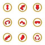 Ícones ajustados, estilo da seta dos desenhos animados Fotografia de Stock