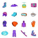 Ícones ajustados, estilo da snowboarding dos desenhos animados ilustração stock