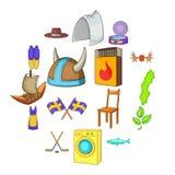 Ícones ajustados, estilo da Suécia dos desenhos animados ilustração royalty free