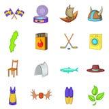 Ícones ajustados, estilo da Suécia dos desenhos animados ilustração do vetor