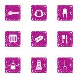 Ícones ajustados, estilo da tendência da forma do grunge ilustração do vetor