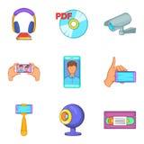 Ícones ajustados, estilo da terra de Digitas dos desenhos animados Fotos de Stock Royalty Free