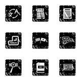Ícones ajustados, estilo da tradução do grunge ilustração royalty free
