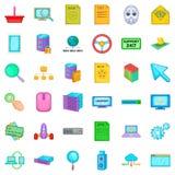 Ícones ajustados, estilo da tradução dos desenhos animados Fotografia de Stock