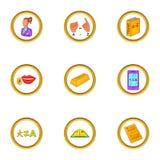 Ícones ajustados, estilo da tradução dos desenhos animados ilustração royalty free