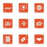 Ícones ajustados, estilo da venda de Seo do grunge ilustração royalty free