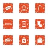 Ícones ajustados, estilo da venda do cartão do grunge ilustração do vetor
