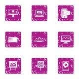 Ícones ajustados, estilo da venda da tecnologia do grunge ilustração royalty free