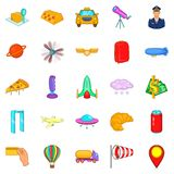 Ícones ajustados, estilo da viagem do ar dos desenhos animados Fotos de Stock Royalty Free