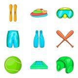 Ícones ajustados, estilo da vida do esporte dos desenhos animados Fotos de Stock