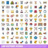 100 ícones ajustados, estilo da vitória dos desenhos animados Fotografia de Stock Royalty Free