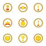 Ícones ajustados, estilo da vitória dos desenhos animados Fotografia de Stock