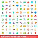 100 ícones ajustados, estilo das atividades do esporte dos desenhos animados Imagem de Stock Royalty Free
