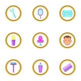 Ícones ajustados, estilo das coisas da barbearia dos desenhos animados Imagens de Stock