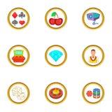 Ícones ajustados, estilo das coisas do casino dos desenhos animados Foto de Stock Royalty Free
