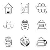 Ícones ajustados, estilo das ferramentas da apicultura do esboço ilustração stock