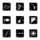 Ícones ajustados, estilo das ferramentas do Musical do grunge ilustração royalty free