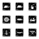 Ícones ajustados, estilo das madeiras do sawing do grunge Fotos de Stock Royalty Free