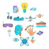 Ícones ajustados, estilo das novas tecnologias dos desenhos animados Foto de Stock