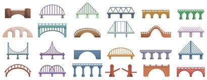 Ícones ajustados, estilo das pontes dos desenhos animados ilustração do vetor