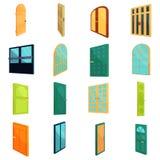 Ícones ajustados, estilo das portas dos desenhos animados ilustração stock