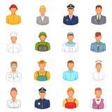 Ícones ajustados, estilo das profissões dos desenhos animados Imagens de Stock