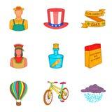 Ícones ajustados, estilo de Columbus Day dos desenhos animados Fotos de Stock
