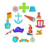 Ícones ajustados, estilo de Columbus Day dos desenhos animados Foto de Stock
