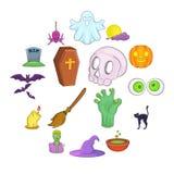 Ícones ajustados, estilo de Dia das Bruxas dos desenhos animados Fotos de Stock
