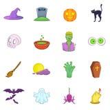 Ícones ajustados, estilo de Dia das Bruxas dos desenhos animados Fotografia de Stock Royalty Free
