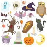 Ícones ajustados, estilo de Dia das Bruxas dos desenhos animados Foto de Stock