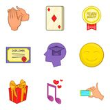 Ícones ajustados, estilo de Grant dos desenhos animados Imagens de Stock Royalty Free