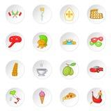 Ícones ajustados, estilo de Itália dos desenhos animados Imagens de Stock